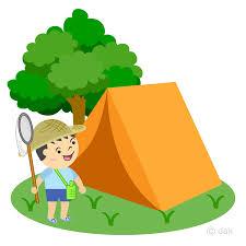 キャンプを楽しむ子供のイラスト
