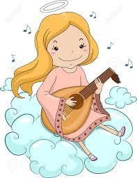 リュートを弾いている女の子の天使のイラスト