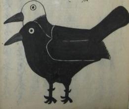 「暴瀉病流行日記」に描かれている予言の鳥の絵です。